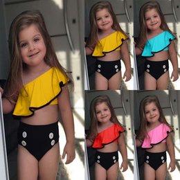 2019 biquínis de verão para crianças 2019 Bebê Crianças Menina Two Piece Swimsuit Verão Swimwear Criança Para Esportes Aquáticos Bikini Set Swim Vestido De Praia Traje de Banho C32 desconto biquínis de verão para crianças