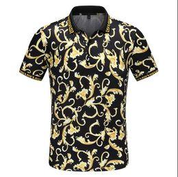 Роскошные итальянские дизайнерские футболки поло в полоску Роскошные змеиные поло с цветочной вышивкой мужская футболка поло для лошадей High Street fashion # 4406 от Поставщики поло лошади