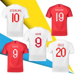 trajes brancos Desconto 2018/19 Inglaterra Camisas De Futebol Da Copa Do Mundo 18 19 DELE KANE STRRIDGE STURRIDGE RASHFORD Costume Vermelho Branco homem Camisas De Futebol Da Juventude