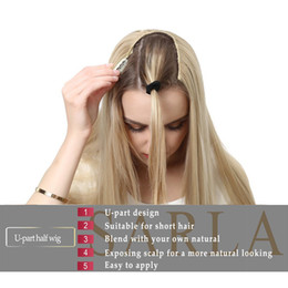 """Peluca rubias online-Moda 16 """"Short Curl Blonde U Part Half Pelucas para Momen Clip de cabello sintético en postizos postizos falso Uw05"""