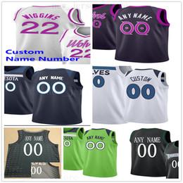 2019 lila schwarzer baseball jersey Individuell bedruckte MinnesotaTimberwolvesJerseys Top-Qualität 2019 New Black White Green Purple City Jersey. Nachricht Beliebige Nummer und Name auf Bestellung günstig lila schwarzer baseball jersey