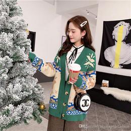 2019 ropa de damas solteras Navidad Milu Deer Suéteres de las mujeres de moda solo botón grueso Donna ropa diseñador damas Casual Winter Tops ropa de damas solteras baratos