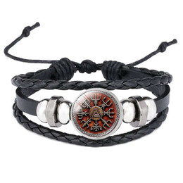 kompass für armband Rabatt 2019 neue Dropshipping Viking Vegvisir Kompass Anhänger Armreif Nordic Runes Männer Schmuck Odin Symbol Lederarmbänder