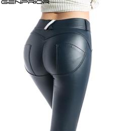 Mulheres elásticas das calças do plutônio on-line-GENPRIOR pêssego Push Up Hip magros perneiras de couro Calças Mulheres PU alta Elastic Pants aptidão Legging Exercício Calças lápis