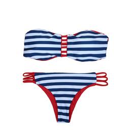 Ropa de playa 2019 Mujeres Sexy Conjunto de Bikini sin tirantes Contraste Raya Parte de abajo Parte inferior Playa Traje de baño Traje de baño Traje de baño Azul oscuro GS084DB-L desde fabricantes