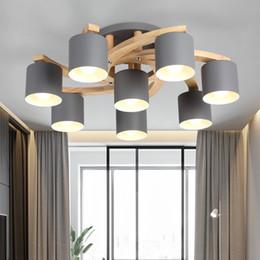 Cozinha teto luz madeira on-line-Modern Wood E27 Ceiling Lamp Art Iron Ceiling Light Lighting Bedroom Living Room LED Kitchen Dining Bar Luminaire Fixtures Avize