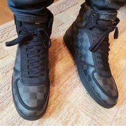 Venda quente-Sapatilha Bota Dos Homens Elegantes Hi-top High Top Sneakers Designer de Marca de Luxo Damier Formadores para Os Homens Ao Ar Livre Casual Caminhadas Sapatos de Escalada de