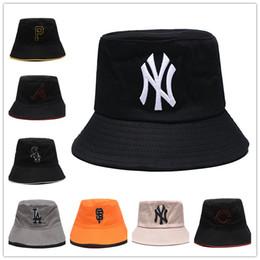 2019 equipo de pesca Todo el estilo de equipo de béisbol de moda LA NY bucket hat hip hop Gorras de pesca plegables Sombreros de ala ancha Bowler Cap para hombres y mujeres de buena calidad equipo de pesca baratos