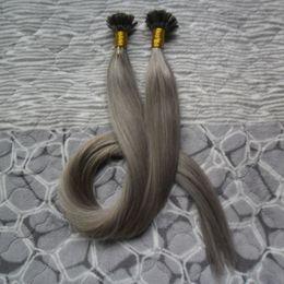 виргинские волосы слияния Скидка Серебристо-серый наращивание волос Virgin Indian Straight Pre Bonded Nail U СОВЕТ Человеческих волос Кератиновый сплав Ногтей СОВЕТ Наращивание волос
