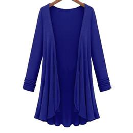 Camisola de crochê aberta on-line-Novas Mulheres Moda Cardigan Outerwear Crochet Poncho casaco azul ponto aberto longas Camisolas Cardigans
