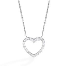 2019 ciondoli a forma di cuore Regalo d'argento del pendente a forma di cuore di Boho di gioielli dal design di lusso della collana di cristallo zircone girocollo donne clavicola maglione catena strass oro ciondoli a forma di cuore economici