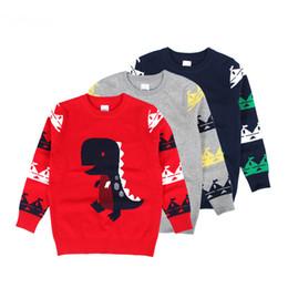 2020 pulôveres rapazes 2019 Outono Inverno Hot Sale Meninos Roupas Sweater Padrão dos desenhos animados do dinossauro algodão macio pulôver formal estilo estudante Sweater pulôveres rapazes barato