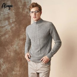 9b9811a6c0 100% Goat Cashmere Man Sweater 2018 Cable Knitted Sweaters Men Turtleneck  Pullover Warm Knitting Thick Plus Size Winter Sweater