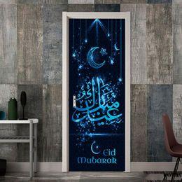 2 Pcs / Ensemble Lune Et Étoile Islamique Musulman Ramadan Porte Autocollant Étanche Vinyle Porte Murale Auto-Adhésif Diy Rénovation Stickers ? partir de fabricateur