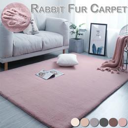 2019 coniglio di stuoia Home Furnishing Modern Artificial Rabbit Fur Square Carpet Salotto Tavolino Coperta Camera da letto Short Peluche Mat D30 sconti coniglio di stuoia