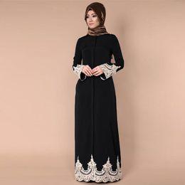 2301908e3b1e 2019 Middle East Fashion Muslim Turkish Casual Women Dubai Abaya Lace  Hollow Out Robe Long Sleeve Kaftan Maxi Dresses Clothing discount dubai  maxi dress