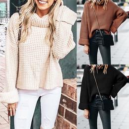 Mädchen lange lose t-shirts online-Winter Pullover frauen Mode Frauen Gestrickte Solide Langarm T-shirt mädchen Tops Lose Pullover weibliche kleidung Pullover