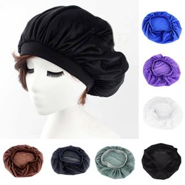 chemo hair hat Coupons - 2019 New Night Sleep Hat Satin Bonnet Chemo Cap Head Wrap Cover Long Hair Care Tool WML99