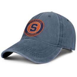 Chapéus alaranjados do golfe on-line-Syracuse orange rodada logotipo chapéu de cowboy snapback chapéu de algodão do homem impressão ajustável boné de basquete das mulheres clássico golf cap malha cesta