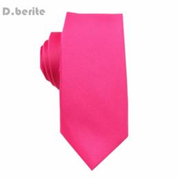 Laço de seda do rosa quente on-line-Nova Gravata De Seda laços Sólidos Skinny Magros dos homens Hot Pink Tie Wedding Groom Party SK25
