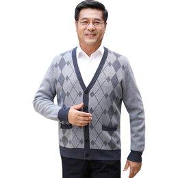 Cardigan de cuello v hombres grueso online-hombres suéter breasted-Single chaqueta 2019 Otoño Invierno Ocio de manga larga jersey de punto grueso Cardigan Abrigos