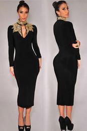 Платье из осеннего чая онлайн-Женщины среднего теленок с длинным рукавом черного золота пришивания шеи женщина платья партии Sexy Осень офис карандаш Midi платье для дам M L XL чай Длина 6908
