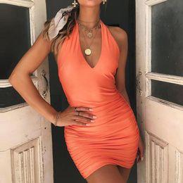2019 robe longue cintrée 2019 été nouvelle robe d'été sexy de v-cou licol dames drapé drapé Slim fit bandage dames longue robe dos nu sexy # 0612 promotion robe longue cintrée