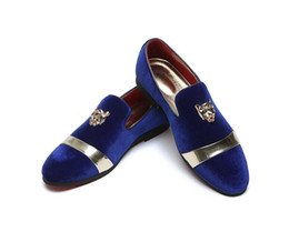 los mejores zapatos italianos Rebajas Hot Sale-New style Fashion Gold Top y Metal Toe Men Velvet Dress shoes italian mens dress mocasines hechos a mano Z409