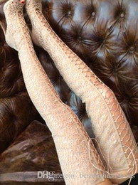 2020 botas de estilete vermelhas abertas Sexy Mulheres Preto sandálias vermelhas Bota Cross-Strappy lantejoulas Ver-thru sapatas longas sobre o joelho botas altas da coxa Abrir Toe Botas Lace Up Gladiador botas de estilete vermelhas abertas barato