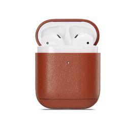 Auricular de color online-Mytoto colores Funda de cuero para Apple Airpods 1/2 inalámbrico Auricular Bluetooth Accesorios Caja de carga Bolsas de auriculares