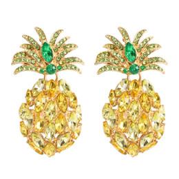 lustres d'ananas Promotion ananas diamants pendent boucles d'oreilles pour les femmes luxe cristal coloré charme lustre boucle d'oreille en alliage strass fruits bijoux livraison gratuite