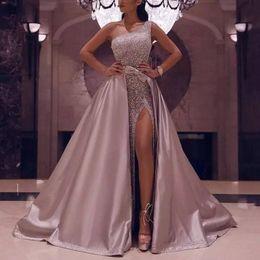 Un vestido de tren lateral online-Pink Rose brillante de un hombro vestidos de baile Con desmontable tren atractivo lateral abierto con cuentas vestidos de noche con lentejuelas de lujo vestido del desfile formal