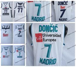 3acbf08fc1a9 Mens Luka Doncic Unicersidad Europea   7 Maillot De Basket-ball De Madrid  Pas Cher   77 Slovenija Luka Doncic Chemises Surpiquées Blanc maillots de  basket ...