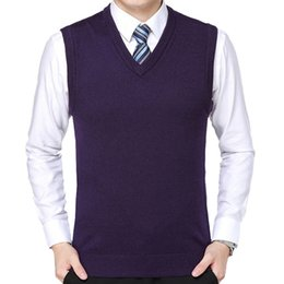 beiläufige wollwesten für männer Rabatt Oeak Fashion Herren Pullover Weste Herren Einfarbig Wolle Lässig Pullover Strickpullover mit V-Ausschnitt 2019 Neu