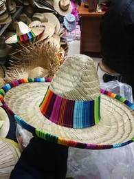 Mexikanische frauenhüte online-Natürliche Männer Stroh mexikanischer Sombrero-Hut Frauen-bunte Geburtstags-Party-Dekoration Tisch-Party-Hüte freies Verschiffen