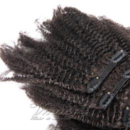 2019 synthetisches peruanisches weben Afro Kinky Curly 4C Clip In Echthaarverlängerungen Brasilianisches 100% Echthaar 4C Clip In Echthaar 100g 120g 140g 160g