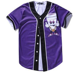 Usura poco costosa da uomo online-Cheap 2020 Estate di usura shirt manica corta da baseball maglie 3D del fumetto di modo Base Player Jersey di baseball degli uomini supera Button