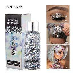 Ombretto di glitter per gel online-HANDAIYAN Holographic Mermaid Glitter Eyeshadow Gel Corpo Viso Occhi Liquid Loose Paillettes Pigmenti Crema di trucco Festival Gemme
