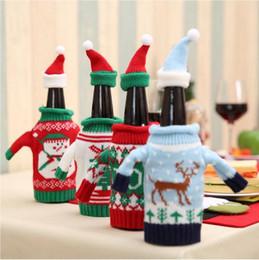 Decoração da tabela do ornamento Garrafa de Vinho Snowman Cover Set Papai Noel do Natal Garrafa camisola com Hats Xmas partido Home de Fornecedores de placas de escola por atacado