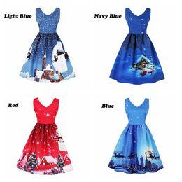 vestidos de xmas Desconto Senhora Vestido de Natal Xmas Eve Tree Snow Elk Impresso Vestidos de Festa Princesa Verão Elegante Com Decote Em V Vestidos Vintage Feminino dress LJJA3058