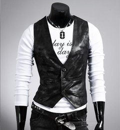 botón de chaquetas de cuero para hombre Rebajas Chaqueta delgada sin mangas de los años 80 de los hombres Chaqueta sin mangas Moda casual PU Chalecos de cuero Botón Abierto Botón simple Chalecos ajustados más el tamaño 4XL