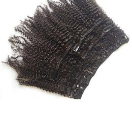 Afro Kinky Kıvırcık Brezilyalı Klip İnsan Saç Uzatma 8 adet set 100 gram Ucuz Bakire Postiş 10in-24 inç Hızlı Drop Shipping Doğal Renk nereden