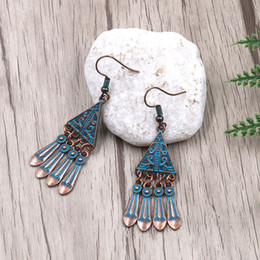 triángulo de cobre encanto Rebajas 5 pares Verdigris Patina Triángulo de cobre Charm Pendiente de gota Pendiente de borla de metal Bohemian Ethnic Gypsy Women Hook Earring Jewelry