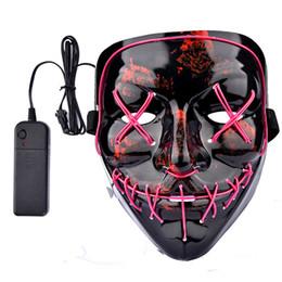 Rave maschere online-DHL Halloween El Filo Maschera Linea Luce fredda Fantasma Orrore mascherina del partito LED Cosplay di ballo di travestimento di Halloween Rave Accessori giocattoli A02
