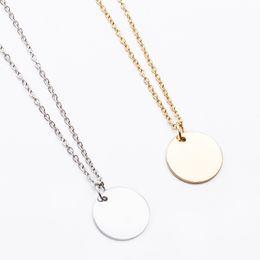 medalha redonda Desconto Simples Little Round Medalha metálico dourado Prata Colar Gargantilha para