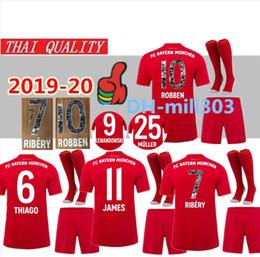 impresión de camiseta de fútbol Rebajas 2019 Bayern Munich Especial Impresión # 7 RIBERY # 10 ROBBEN Uniforme especial del equipo del jersey de fútbol 19 20 Bayern LEWANDOWSKI JAMES Camisetas de fútbol