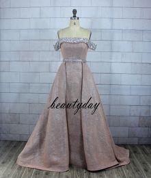 Telas de vestir baratas online-Blush Pink Glitter Fabric Vestidos de baile Vestidos de noche Beach Party Guest Gown Party Black Couple Day Dress Cheap Custom Made