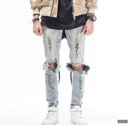 2019 tyga déchiré jeans BLEU NOIR jeans de marque de mens designer de haute qualité grand trou ripped détruit biker rue kanye west vêtements de style Tyga butin tyga déchiré jeans pas cher