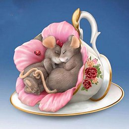 Diamante de chá on-line-Pintura ZOOYA DIY 5D cheia rodada diamante bordado Diamante Mosaico de banda desenhada Jogo de chá Cruz rato Ponto Home Decor
