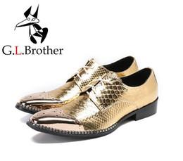 Chaussures Hommes Lacets À Bout Pointu Robe Formelle En Cuir Véritable Or Motif De Pierre Chunky Talon Fer Orteils Mâle Brogue Chaussures ? partir de fabricateur